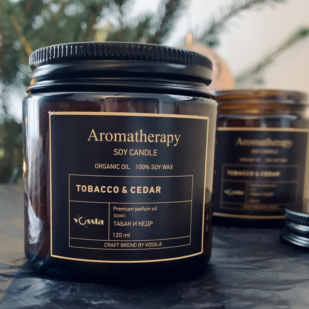 """Свеча AROMATHERAPY """"Табак и кедр"""", 120 ml"""