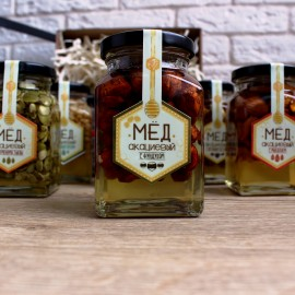 Акациевый мёд с цельным фундуком (250 мл)