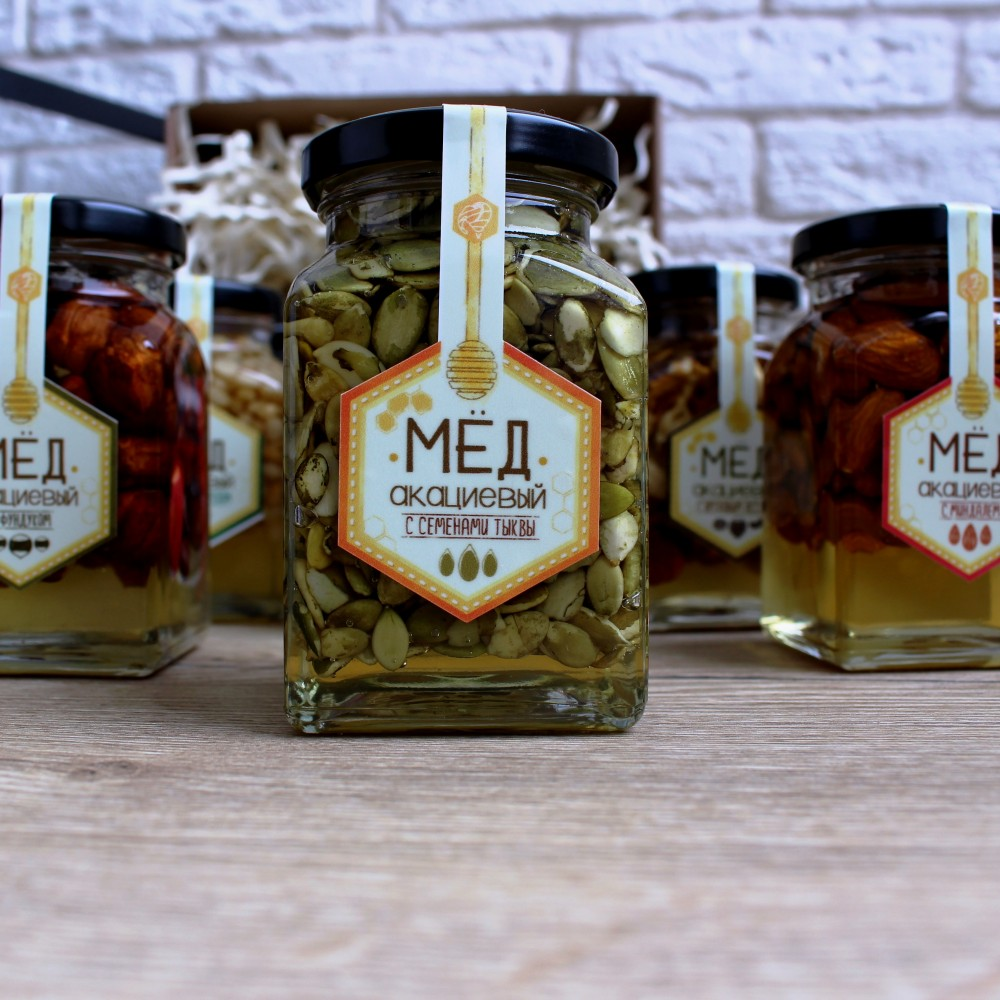 Акациевый мёд с тыквенными семечками (250 мл)